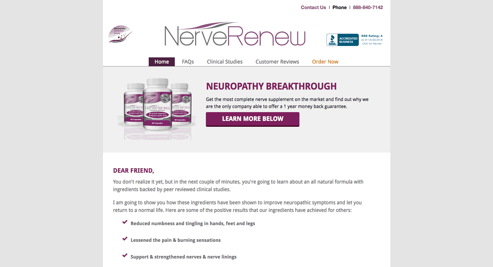 A screenshot of the homepage of the Neuropathy Treatment Group website.