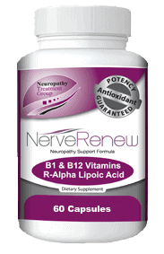A bottle of Nerve Renew neuropathy support formula