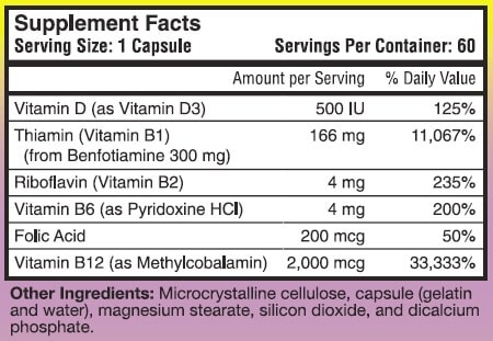 The ingredients in Nerve Support Formula label