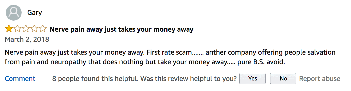 Nerve Pain Away review by an unhappy customer