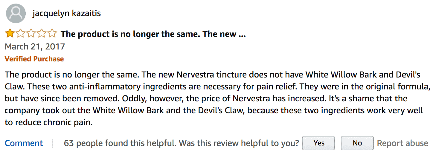 A negative customer review of Nervestra