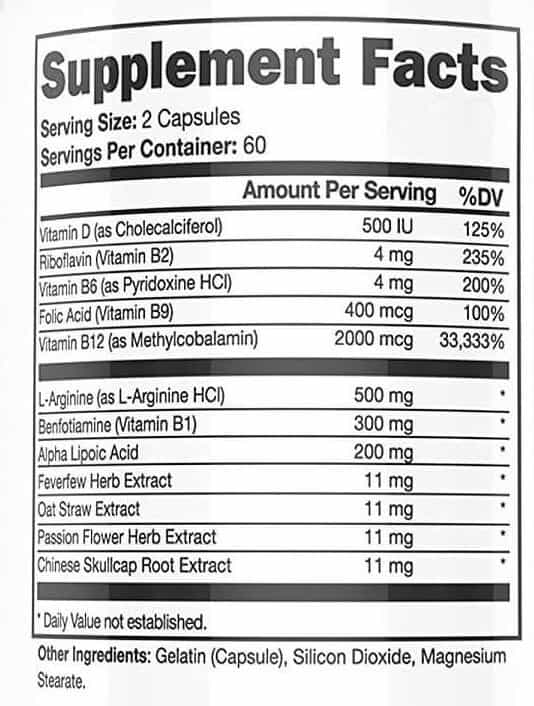 List of ingredients in Neuropaquell