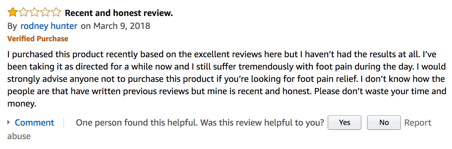 A negative review of Neuropaquell from a customer