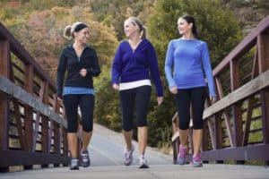 3 women with neuropathy walking for exercise