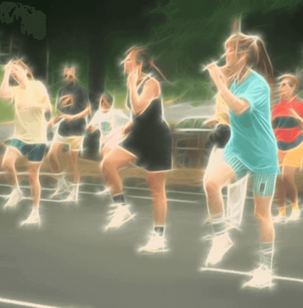 Women doing aerobic exercise outside