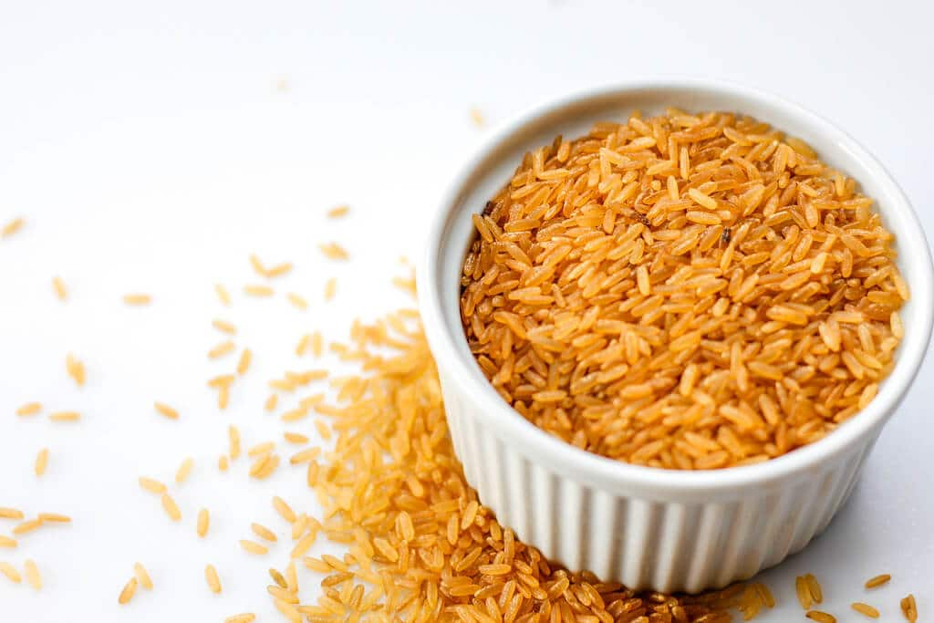 Brown Rice on a White Background