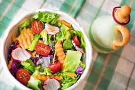 A vegetable salad on a table