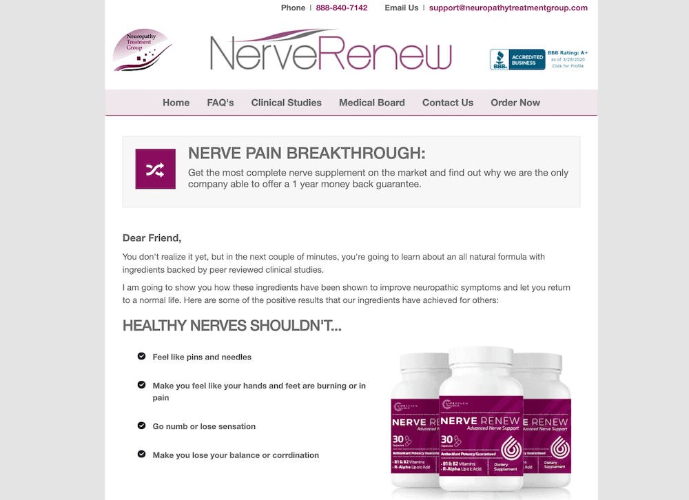 Homepage of the Neuropathy Treatment Group website.